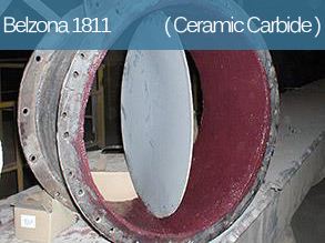 Abrasion resistant composite material for the repair and lining of metal surfaces subject to erosive attack.