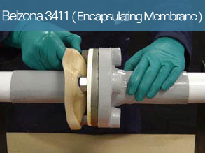 Flexible and peelable corrosion protection system for the encapsulation of flanges and other pipe elements.
