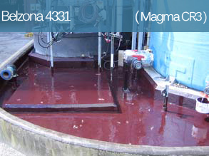 A high temperature epoxy coating for the protection of concrete and metal surfaces in contact with hot organic acids and other chemicals.