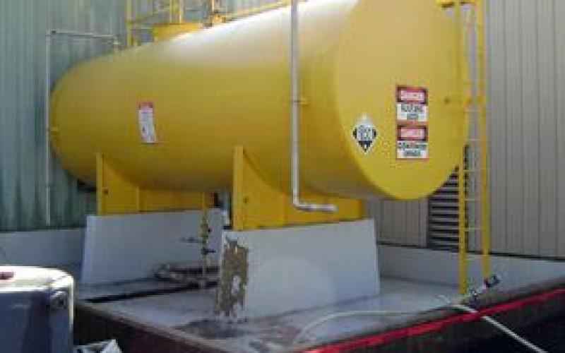 Sulphuric acid bund prior to lining